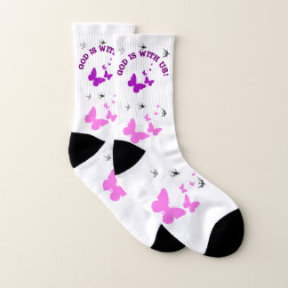 God Is With Us Surrounded By Birds And Butterflies Socks