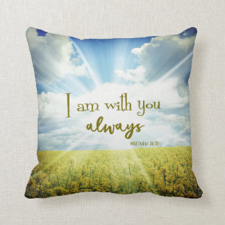God is with you always Bible Verse Quote Cushion