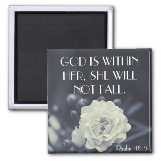 God is within her bible verse Psalm 46:5 Square Magnet