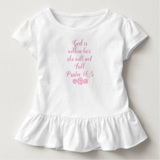 God is within her she will not fall Ruffle T-Shirt
