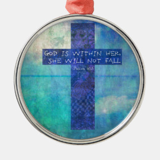 God is within her uplifting Bible verse Psalm 46:5 Christmas Ornament