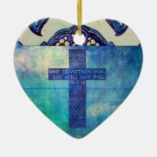 God is within her uplifting Bible verse Psalm 46:5 Ceramic Heart Decoration