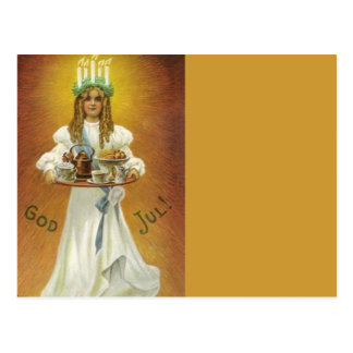 God Jul!  Lucia Child with Treats Postcard