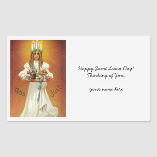 God Jul! Lucia with treats Rectangular Sticker
