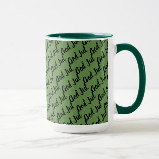 God Jul--merry Christmas in Swedish script in patt Mug