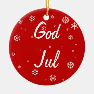 God Jul Snowflakes Round Ceramic Decoration