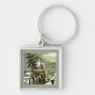 God Jul Swedish Santa Silver-Colored Square Key Ring
