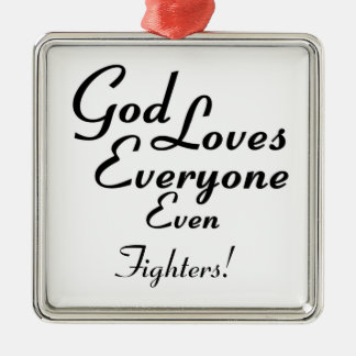 God Loves Fighters! Silver-Colored Square Decoration
