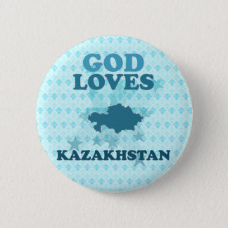 God Loves Kazakhstan 6 Cm Round Badge
