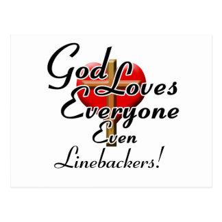God Loves Linebackers! Postcard