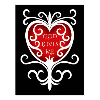 God loves me inspirational postcard