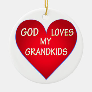 GOD LOVES MY GRANDKIDS ROUND CERAMIC DECORATION