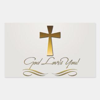 God Loves You Rectangular Sticker