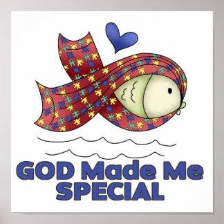 God Made Me Special Autism Fish Symbol Poster