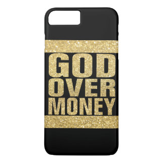 God Over Money - faux gold glitter iPhone 7 Plus Case