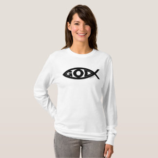 GOD printed inside of a fish...black for white ite T-Shirt