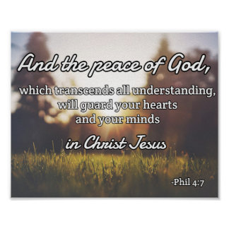 "God Quotes: Phil 4:7 -- ""Peace of God"" Poster"