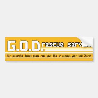 GOD Rescue Service Christian bumper sticker
