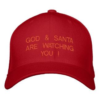 GOD & SANTA ARE WATCHING YOU ! EMBROIDERED BASEBALL CAP