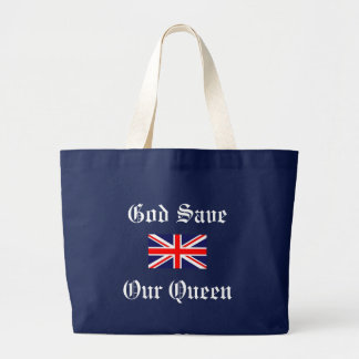 God Save Our Queen-Union Jack Large Tote Bag