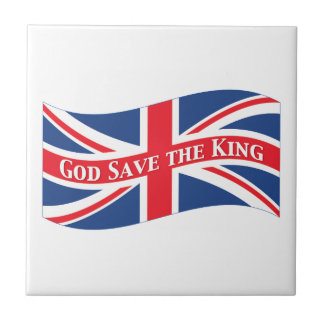 God Save the King with Union Jack Ceramic Tile