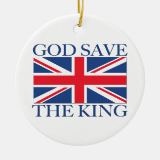 God Save the King with Union Jack Round Ceramic Decoration