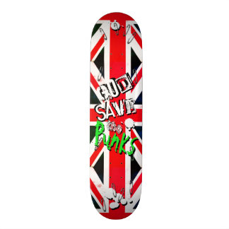 God Save the Punks Grunge Union Jack Safety Pin Skate Board Deck