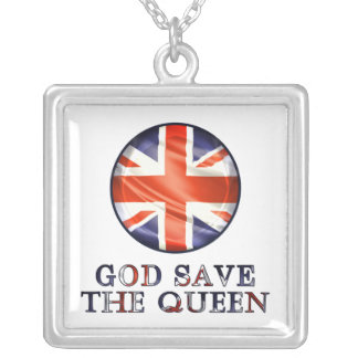 God Save The Queen Square Pendant Necklace