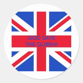 GOD SAVE THE QUEEN! ROUND STICKER