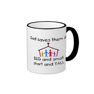 God saves all coffee mug