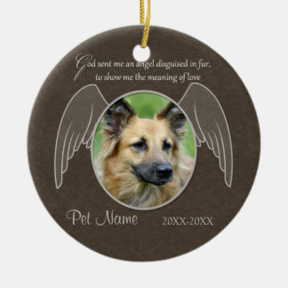 God Sent an Angel Pet Sympathy Custom Ceramic Ornament