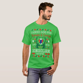 God Sent Mongolian Wife Christmas Ugly Sweater Tee
