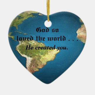 God So Loved The World Ceramic Heart Decoration