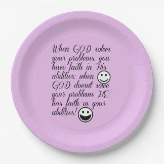 God Solves Your Problem Paper Plate