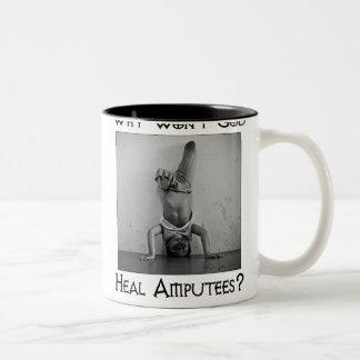 God vs Amputees 2 Two-Tone Coffee Mug