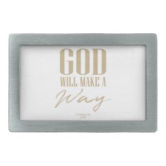 God will make a way rectangular belt buckle