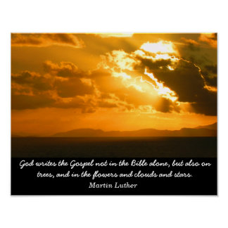 God writes the Gospel - Martin Luther quote print