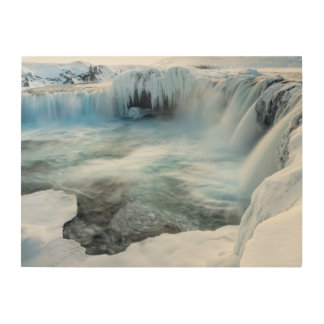 Godafoss waterfall, winter, Iceland 2 Wood Wall Art