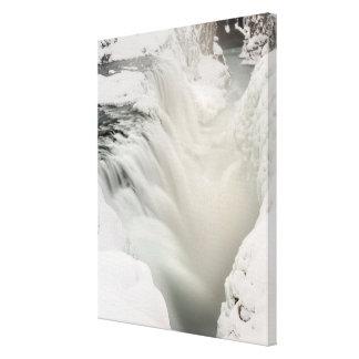 Godafoss waterfall, winter, Iceland Canvas Print