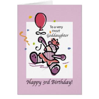 Goddaughter 3rd Birthday Bear Balloon Card