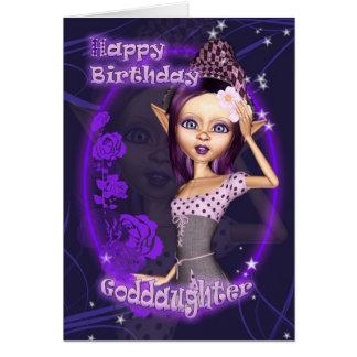 Goddaughter - Birthday Card With Cute Fantasy Elf