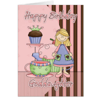 Goddaughter Cute Birthday Card - Cupcakes And Tea