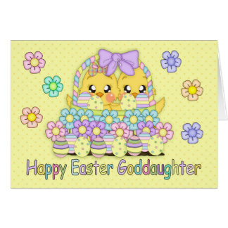 Goddaughter Cute Easter Chicks In A Basket Greeting Card
