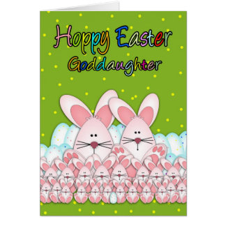 Goddaughter Easter Card With Easter Bunnies