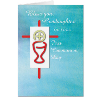 Goddaughter, First Holy Communion, Turquoise Card