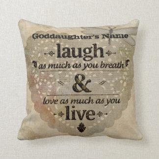Goddaughter Gift Inspiring Angel Words Add Name Cushion