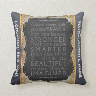 Goddaughter Gift Motivational Words Personalised Cushion