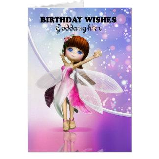 Goddaughter, Happy Birthday cute fairy dancing Card
