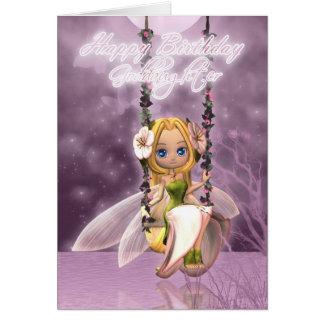 Goddaughter Happy Birthday cute fairy on flower sw Card