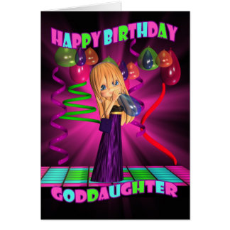 Goddaughter Happy Birthday with Cute little Cutie Card